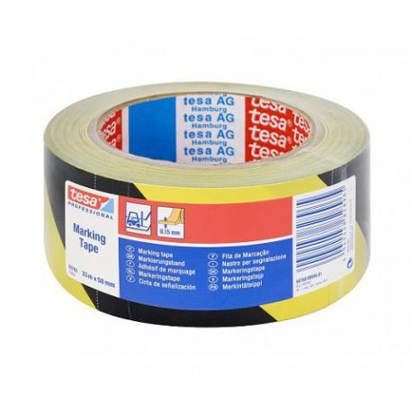 Cinta señalizacion adhesiva amarilla/negra 33mx50mm TESA