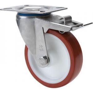 Rueda giratoria freno 2-2430 100ømm 150kg poliuretano inox ALEX