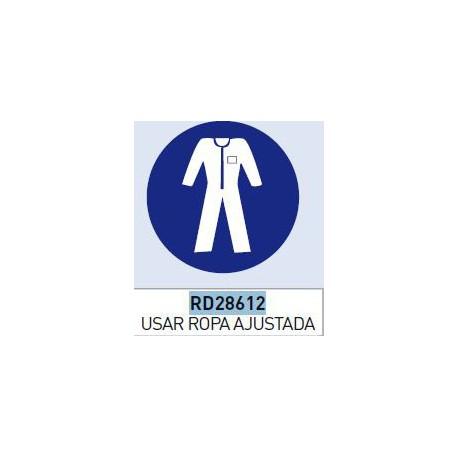 Señal adhesiva obligacion uso ropa ajustada vinilo 90mm NORMALUZ