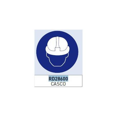 Señal adhesiva obligacion uso casco vinilo 90mm (10 unidades) NORMALUZ
