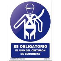 Señal adhesiva obligacion uso cinturon  100x150 NORMALUZ