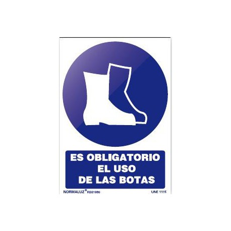 Señal obligacion uso botas pvc 150x200x0,7mm NORMALUZ