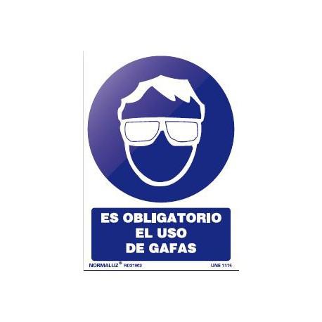 Señal obligacion uso gafas adhesiva 150x200x0,7mm NORMALUZ