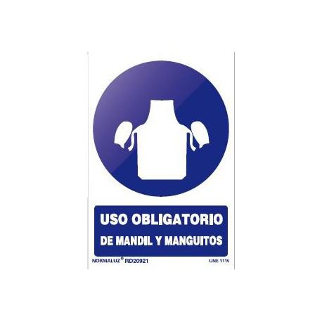 Señal obligacion uso mandil y manguitos pvc 200x300x0,7mm NORMALUZ