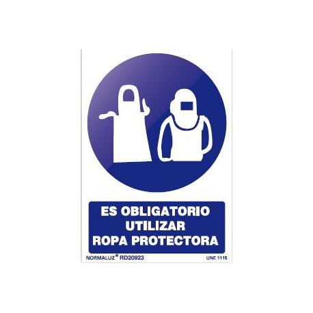 Señal obligacion uso ropa protectora pvc 210x300x0,7mm NORMALUZ