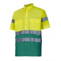 Camisa alta visibilidad manga corta 142-110 amarillo verde VELILLA