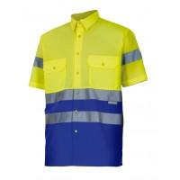 Camisa alta visibilidad manga corta 142-140 amarillo/azulina VELILLA