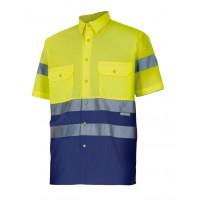 Camisa alta visibilidad manga corta 142-70 amarillo/azul VELILLA