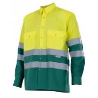 Camisa alta visibilidad manga larga 144-110 amarillo/verde VELILLA