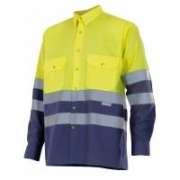 Camisa alta visibilidad manga larga 144-70 amarillo/azul VELILLA