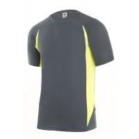 Camiseta tecnica manga corta 105501-80 gris/amarillo VELILLA