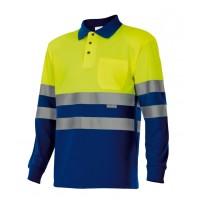Polo alta visibilidad manga larga 175-140 amarillo/azulina VELILLA