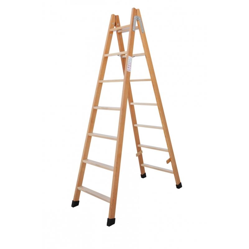 Escalera tijera madera barnizada 12 pelda os altura 3 m for Escalera tijera de madera