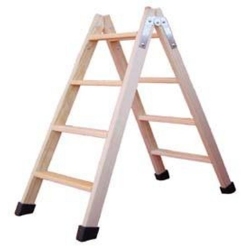 Escalera tijera madera barnizada 3 pelda os altura 0 7m for Escaleras 10 peldanos de tijera
