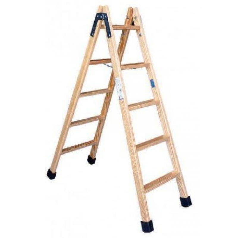 Escalera tijera madera barnizada 5 pelda os altura 1 2m for Escaleras 10 peldanos de tijera