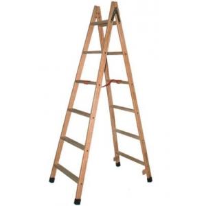 Escalera tijera madera barnizada 6 pelda os altura 1 5m for Escalera tijera de madera
