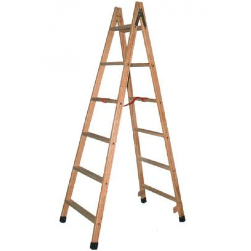 Escalera tijera madera barnizada 6 pelda os altura 1 5m - Peldanos de madera para escalera ...