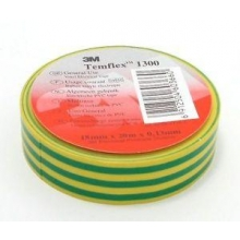 Cinta aislante temflex 1300 verde/amarillo 19x20mm 3M