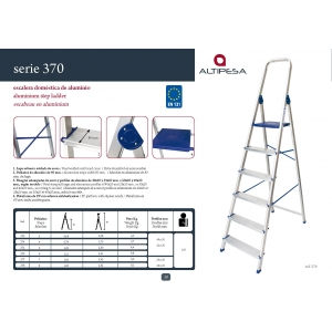 Escalera 307 aluminio domestica 7 peldaños. Altura 3,42 mt ALMESA