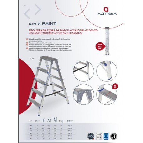Escalera 365 aluminio 5 peldaños anchos ALMESA