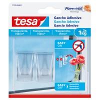 Ganchos adhesivos transparentes hasta 1kg vidrio TESA