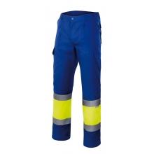 Pantalon alta visibilidad 157-140 amarillo/azulina VELILLA