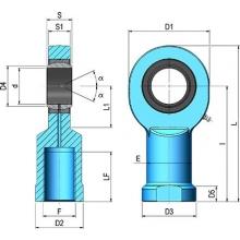 Rotula hembra M-6x100 derecha  cilindro 12/16 mm CICROSA