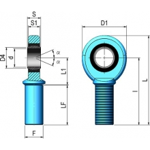 Rotula macho M- 8 c/engrasador CICROSA