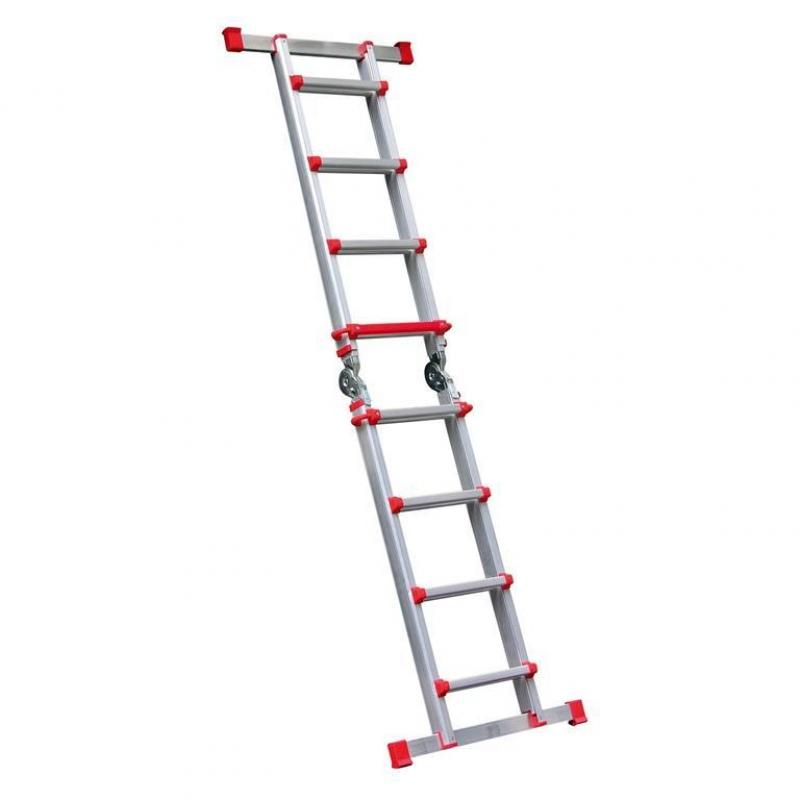 Escalera telescopica aluminio 4x4 altura 4 9 metros max for Escaleras 4 metros