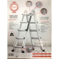Escalera multiuso aluminio 5 x 5 peldaños 2,51/5,22 mt SINEX