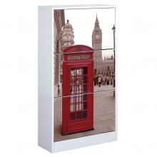 Zapatero decorado 3 puertas 60x24x117cm Londres