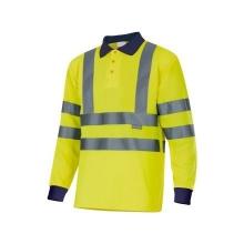 Polo manga larga alta visibilidad 305503-70 amarillo/azul VELILLA