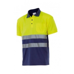 Polo manga corta alta visibilidad 305504-70 amarillo/azul VELILLA