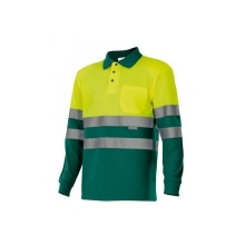 Polo alta visibilidad 175-110 manga larga amarillo/verde VELILLA
