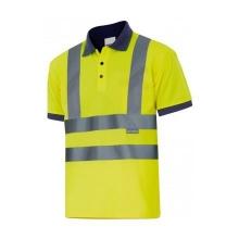 Polo manga corta alta visibilidad 305502-70 amarillo/azul VELILLA