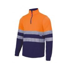 Sudadera con cremallera alta visibilidad naranja/azul VELILLA