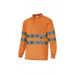 Polo manga larga alta visibilidad 174-19 naranja VELILLA