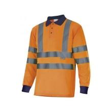 Polo manga larga alta visibilidad 305503-210 naranja/azul VELILLA
