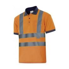 Polo manga corta alta visibilidad 305502-210 naranja/azul VELILLA