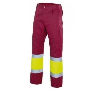 Pantalon alta visibilidad 157-18-20 granate/amarillo VELILLA