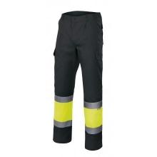Pantalon alta visibilidad 157-20 negro/amarillo VELILLA