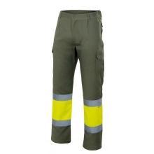 Pantalon alta visibilidad 157-160 verde caza/amarillo VELILLA
