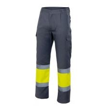 Pantalon alta visibilidad 157-80 gris/amarillo VELILLA