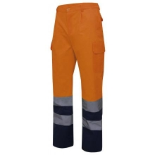 Pantalon alta visibilidad 303001-210 naranja/azul VELILLA
