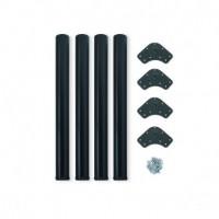Kit de 4 patas de mesa regulables Emuca D. 60 x 710 mm de acero pintado negro