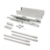 Kit de cajón exterior Vantage-Q Emuca altura 204 mm y profundidad 500 mm con barandillas