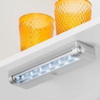 Emuca Luz LED a pilas Phoenix, sensor de movimiento, Luz blanca fría, Plástico, Gris metalizado