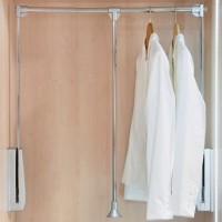 Emuca Colgador abatible para armario, regulable 600-830 mm, hasta 12 kg, Acero, Cromado