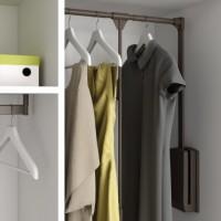 Emuca Colgador abatible para armario, regulable 450-600 mm, hasta 12 kg, Acero, color moka