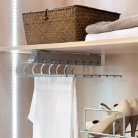 Emuca Pantalonero extraible para armario, montaje izquierda, Acero y plástico, Gris metalizado